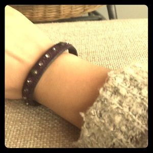 Beaded material cuff with gems